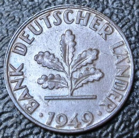 50 pfennig bank deutscher länder 1949 g 1949 j germany 1 pfennig copper bank deutscher