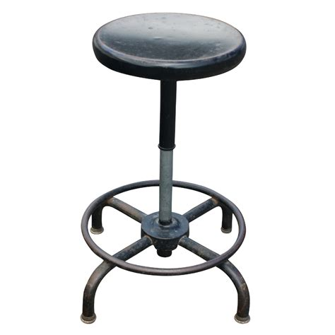 1 industrial age tubular adjustable black metal stool