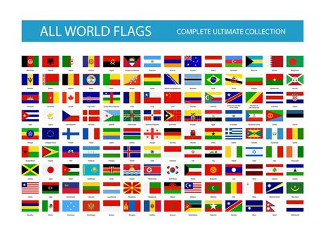 all flags of the world printable all vector world country flags part 1 stock vector