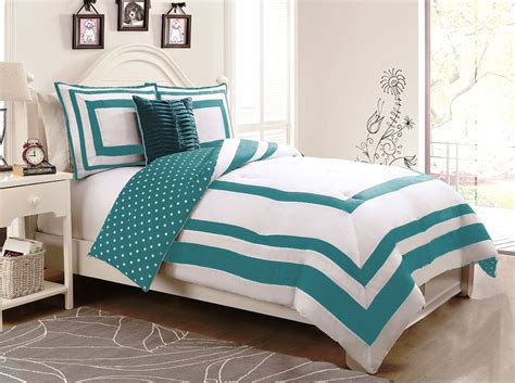 turquoise twin bedding 3 piece hotel juvenile reversible polka dot comforter set
