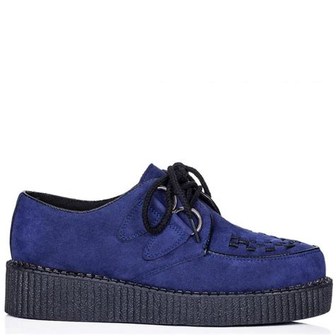 buy lace up platform creeper shoes blue suede