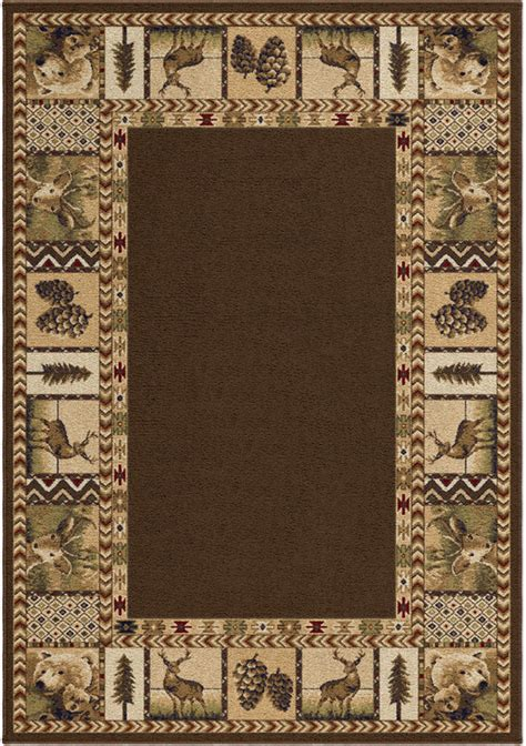 Deer Area Rugs Brown Transitional Synthetics Deer Leaves Trees Area Rug Nature Print 2612
