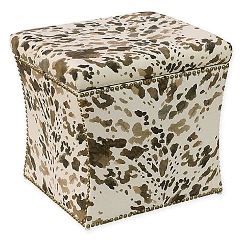 skyline furniture storage ottoman skyline furniture storage ottoman in cow cream bed bath
