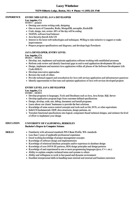 entry level java developer resume sles velvet