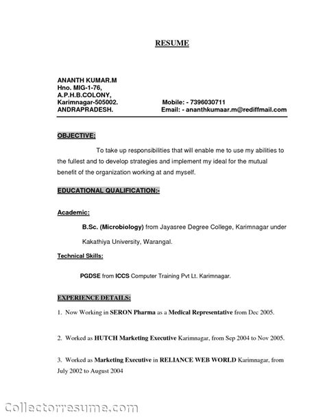 curriculum vitae sle for sales representative representative resume for fresher pdf resume format