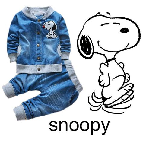 2017 baby clothes snoopy boys clothing kids clothes jeans spring kids clothing 4 sizes fit for