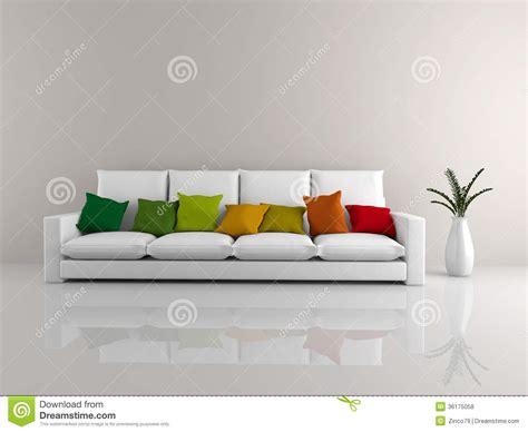 white sofa with colorful pillows minimalist sofa white stock illustration image of blank