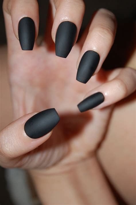 Mat Black Nails by Black Coffin Nails Matte Or Glossy Set Of 20 By