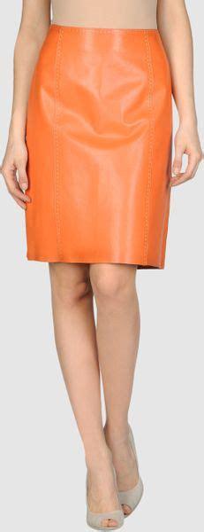 la matta leather skirt in orange lyst