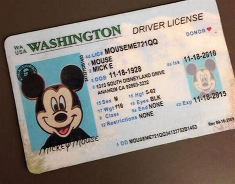 joke id card template mickey mouse is victim of identity theft in wash ny