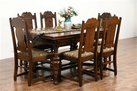 Antique Dining Room Furniture 1920 Sold Tudor 1925 Antique Carved Oak Dining Set Table 6 Chairs New Upholstery Harp Gallery