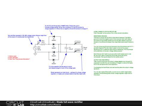 circuit rectifier ac dc diode wave rectifier circuitlab
