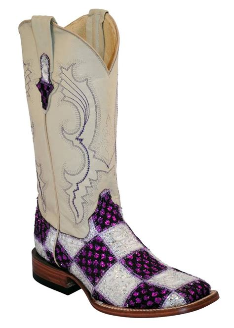 Ferrini Patchwork Boots - ferrini western boots womens patchwork purple white square