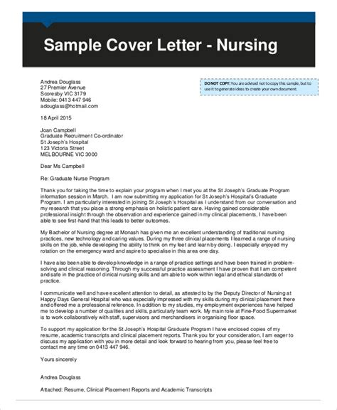 cover letter for nursing application 8 nursing cover letter exle free sle exle