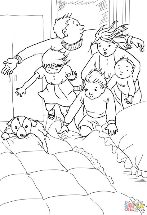 bear hunt coloring page into the bedroom in to the bed under the covers coloring