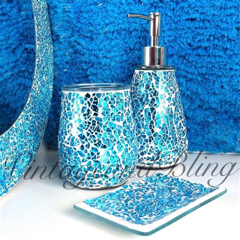 blue bathroom ensembles blue sparkle crackle glass bathroom accessory set tumbler