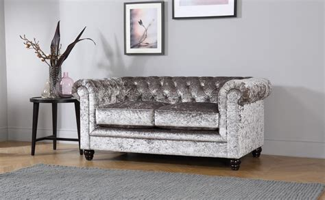 Silver Chesterfield Sofa by Hton Silver Crushed Velvet Chesterfield Sofa 2 Seater
