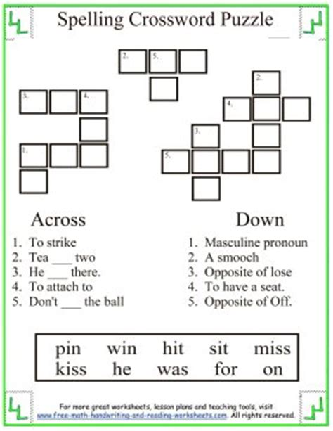 printable puzzles grade 3 spelling first grade words short i