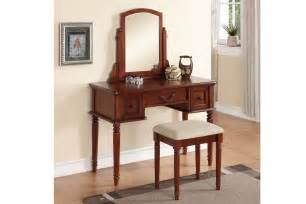 Modern Bedroom Vanity Set Modern Cherry Vanity Set With Stool By Poundex