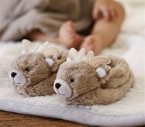 slipper nursery nursery fur reindeer slippers pottery barn