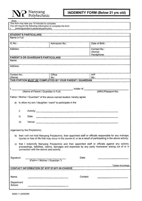 sle of indemnity form invites template