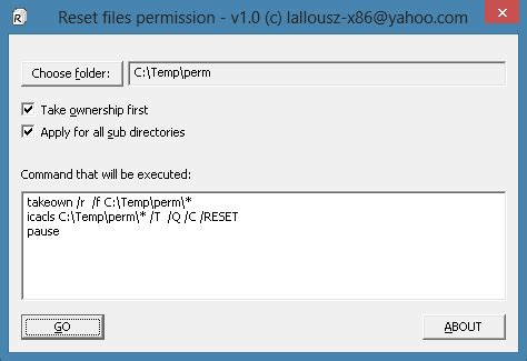 reset permissions tool resetting ntfs files security and permission in windows