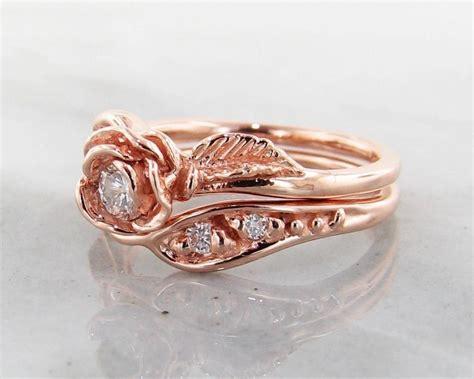 diamond rose gold wedding ring set prize tea rose 1599