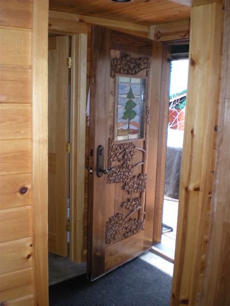 Custom Built Exterior Doors Custom Built Carved Entry Door Pine And Stained