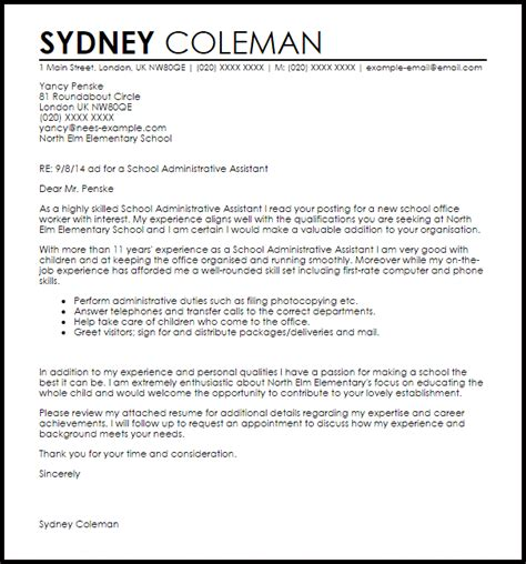 admin assistant cover letter uk school administrative assistant cover letter sle
