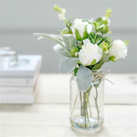 Vintage Vase Centerpieces Faux Flower White Rose Bud Posy Jar Flower Studio Shop