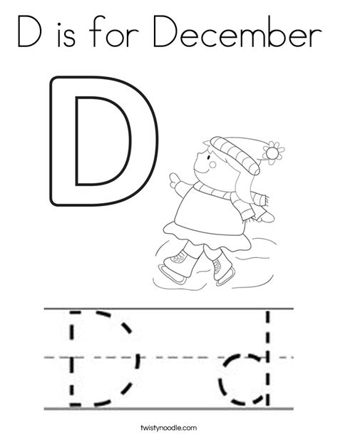 D Is For December Coloring Page Twisty Noodle December Coloring Page