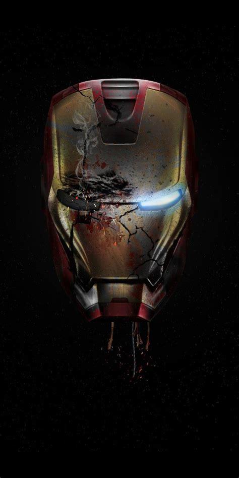 iron man damaged helmet endgame iphone wallpaper