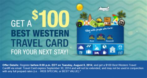 best western card best western rewards free 100 travel card targeted