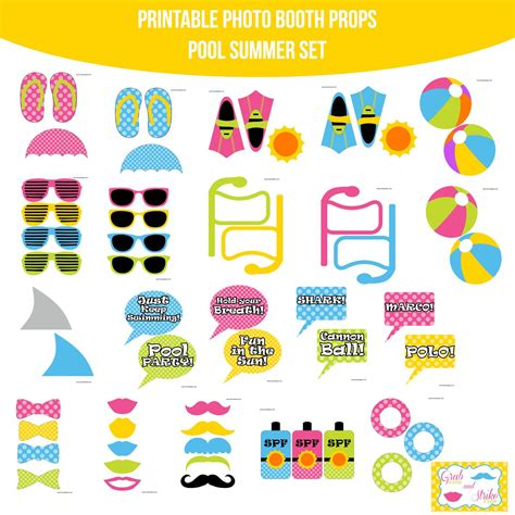 printable photo booth props summer instant download pool party summer printable photo booth
