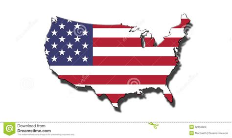 picture of the map of the usa outline of united states of america with usa flag stock