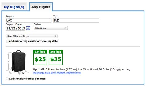 Baggage Fees United Airlines | baggage allowance on international flights