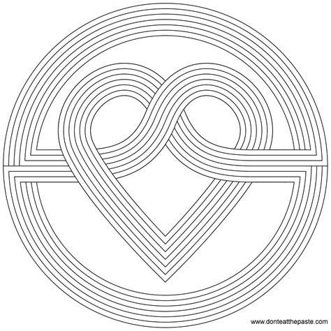don t eat the paste simple heart knot coloring page
