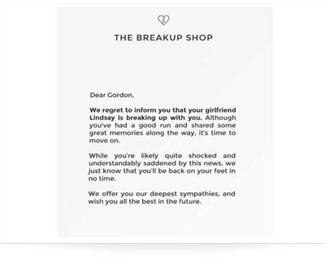 the notebook breakup letter the breakup shop service charges 10 to end your