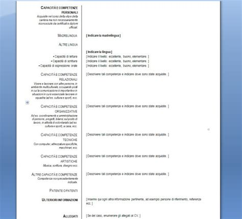 Formato Europeo Curriculum Vitae Spagnolo Curriculum Vitae Europeo Per Mac