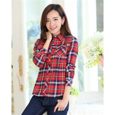 Kemeja Wanita Kotak Lengan Panjang Katun Shirt Import Murah Cinakore kemeja lengan panjang motif kotak t2251 moro fashion