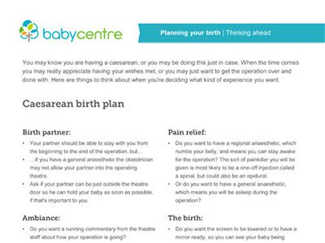 sle birth plan for scheduled c section c section giving birth by caesarean section babycentre