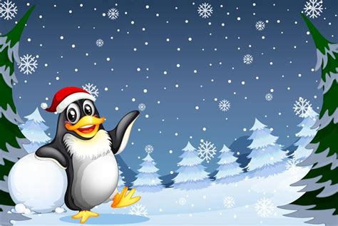 christmas penguin  winter background   vectors clipart graphics vector art