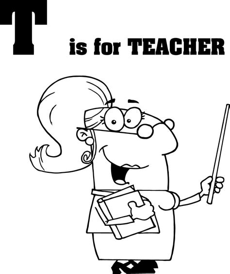 free coloring pages of happy teacher
