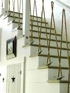 nautical staircases with rope railing and rope bannister