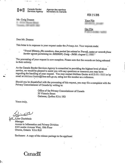 cover letter to government agency what your canada border services agency file looks like