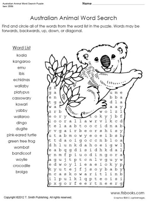 Australian Search Australian Animal Word Search Puzzle