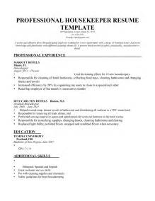 housekeeping resume template resume sle housekeeping manager bongdaao