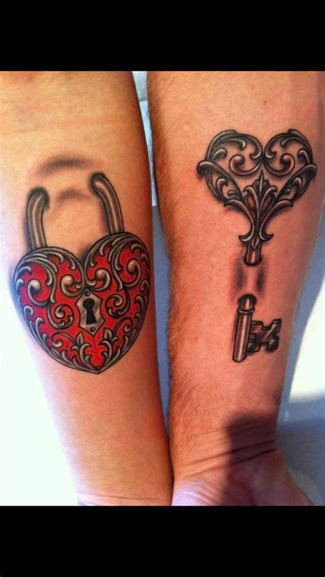 couple heart tattoo couples lock and key tattoos we like ideas