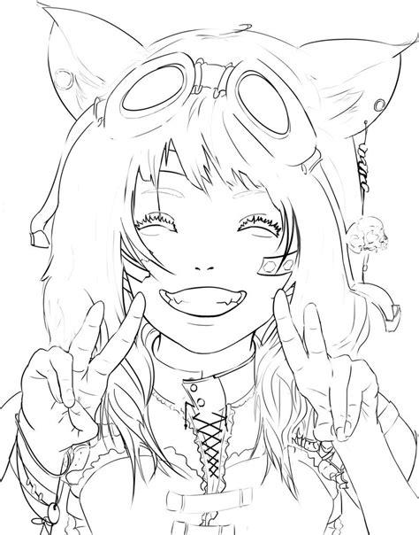 steunk anime girl linework by diehardpizzalover on