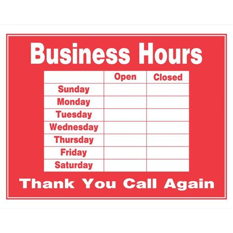 printable business hours sign template business hours sign template quotes memes